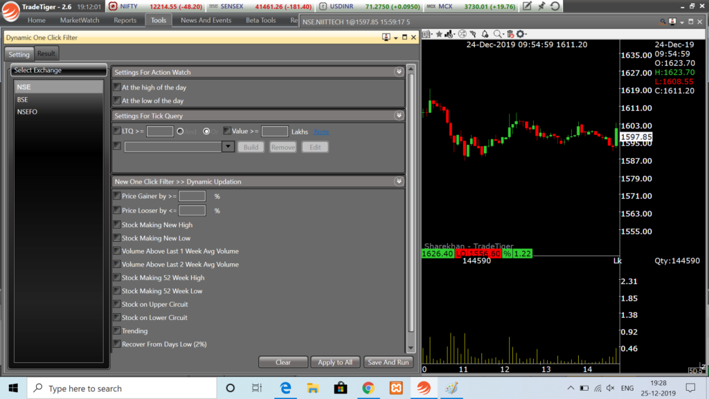 Dynamic one click filter to scan stocks
