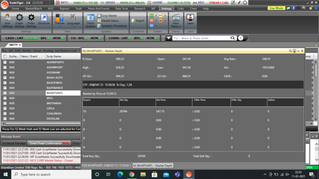 market depth window inside trading terminal displaying buyers and sellers